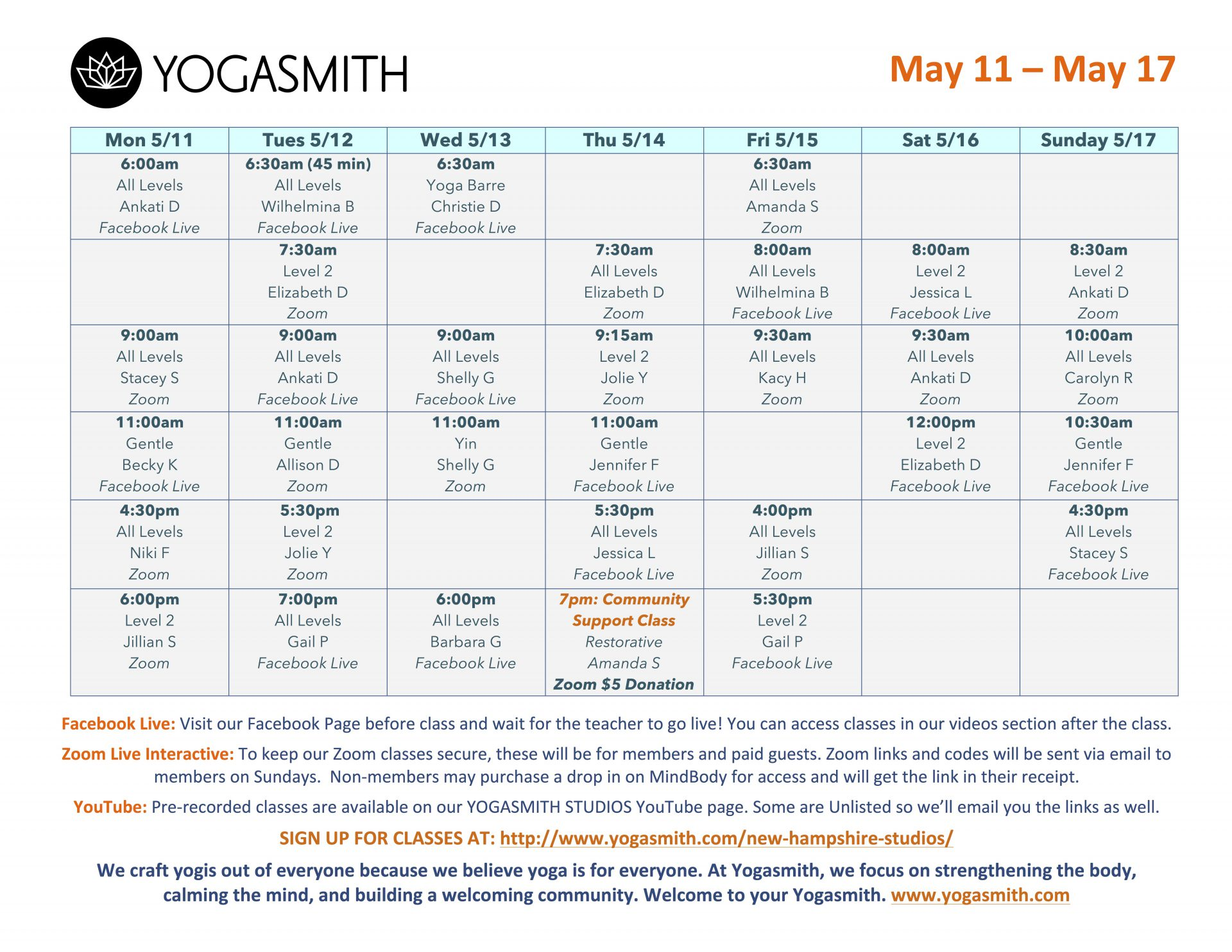 YOGASMITH Virtual Schedule May 11 to 17 2020